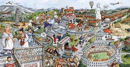 Illustrator Jim Haynes For Cartoons Maps Humor Line Art - Rome map cartoon